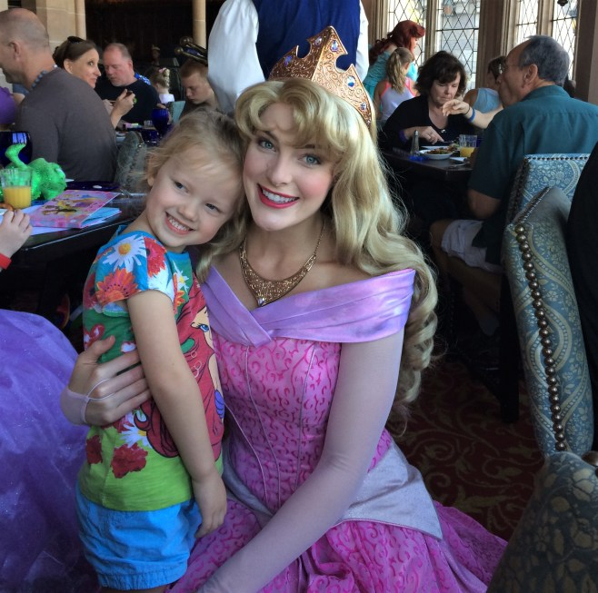 meeting aurora at Cinderella's Royal table