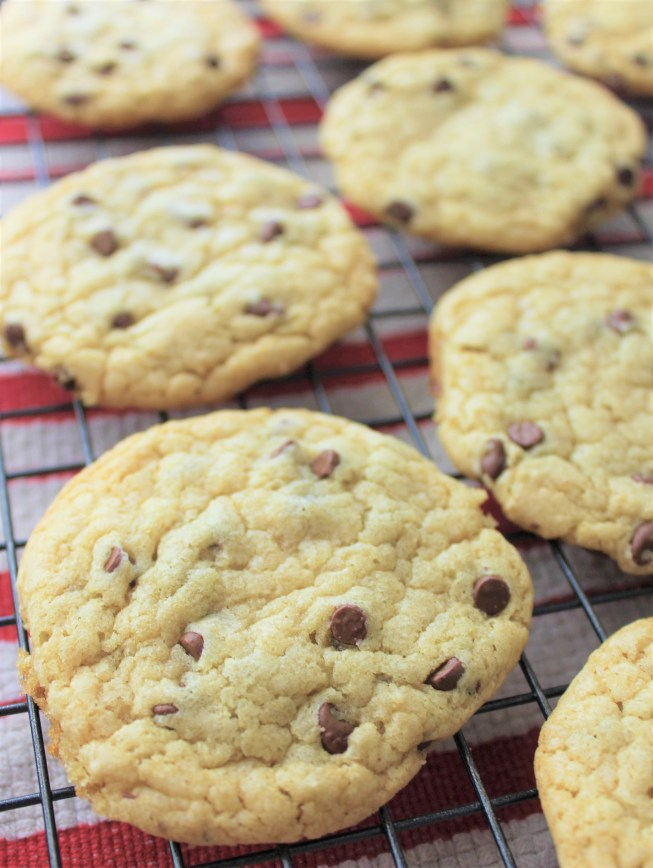 no butter chocolate chip cookies on cooling rack