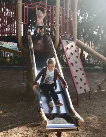 kids on playground in forsyth park savannah georgia