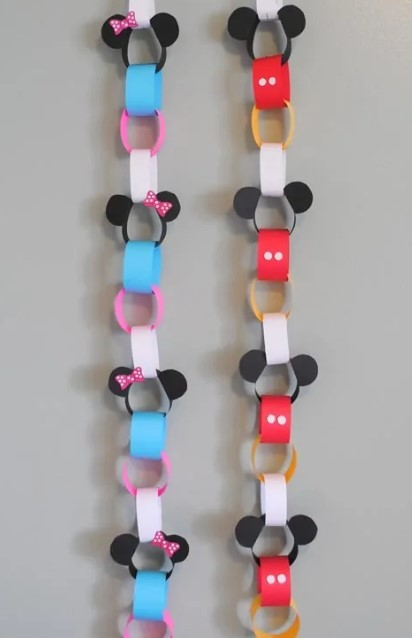 mickey and minnie paper chain craft
