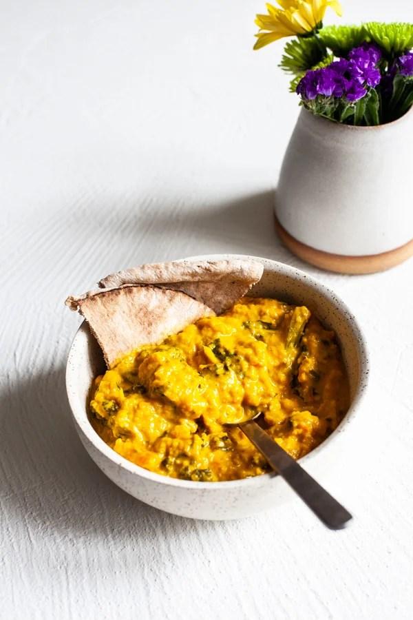Creamy Cauliflower Turmeric Kale Soup | The Full Helping