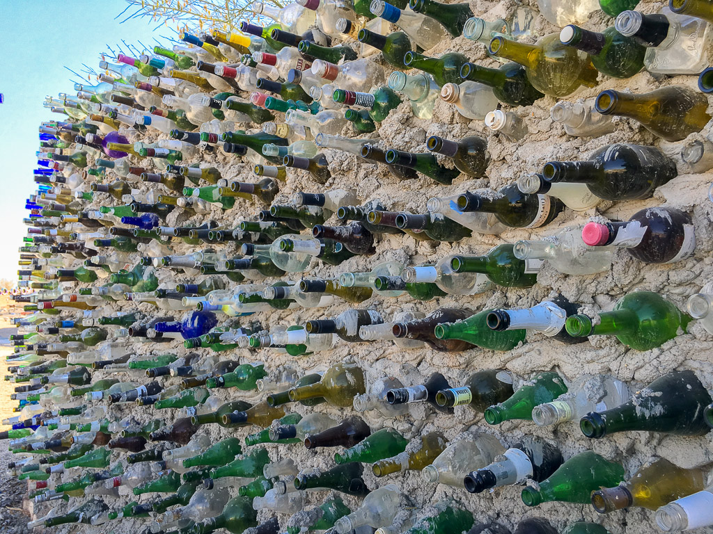 The Bottle Wall located in the Sculpture Garden