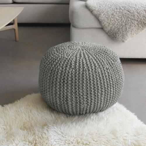 Kit DIY Je tricote mon pouf gris Phildar - The Funky Fresh Project