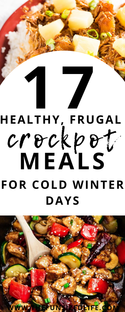 Not looking forward to those cold winter days? Then you have got to try these 17 healthy, frugal crockpot meals. Stay warm and healthy all winter long. #frugalmeals #healthymeals #crockpot #crockpotmeals