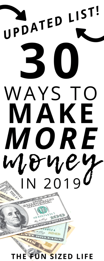 If you are looking to make more money through passive income or side hustles in 2019, then this is the post for you! 30 brand new ways to do it! #makemoney #passiveincome #sidehustles #getmoremoney #extracash #money #finances