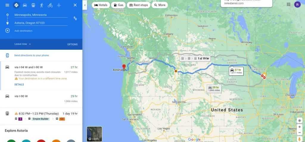 Planning a road trip from Minneapolis to Astoria. How to plan a road trip with multiple stops
