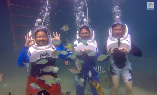 Helmet diving in Hundred Islands.