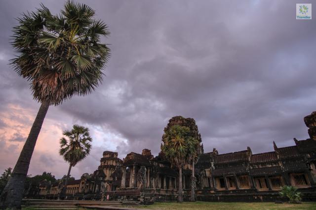 The gates of Angkor Wat at sundown.