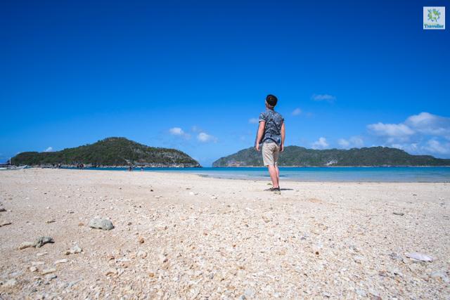 The peebled sand of Bantigue Island.