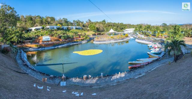 A panoramic shot of the lake inside Garin farm.