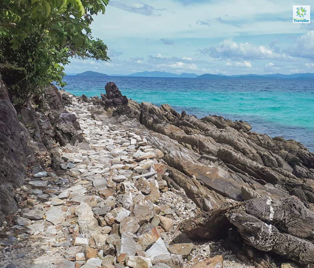 The boulders at the shore of Exotic Island.