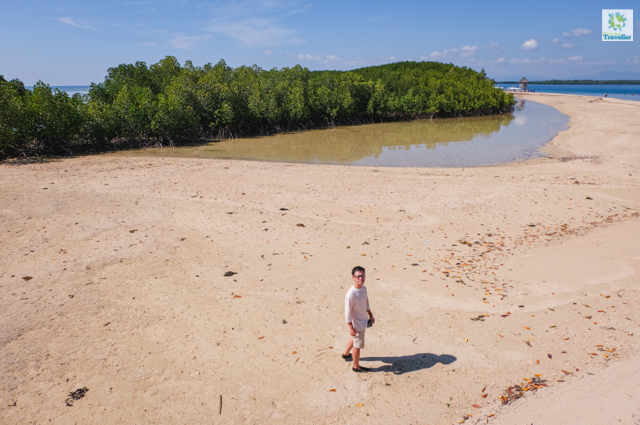At Starfish Island under the scorching heat of the sun.