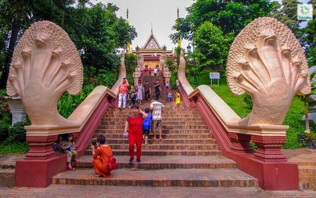 The drawn-out steps leading to Wat Phnom.