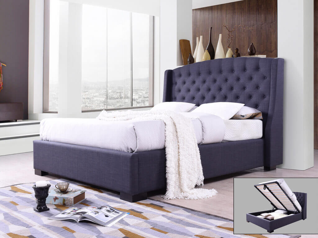 Sareer Sovereign Charcoal Grey King Size Fabric Bed Frame Bed Frames Bedroom Fabric Beds