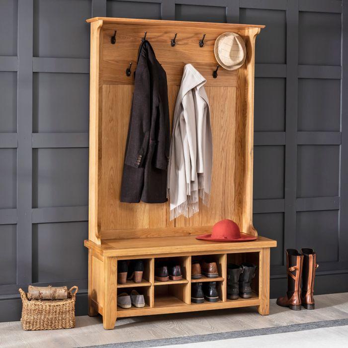 cheshire oak hallway tidy shoe storage bench with coat rack