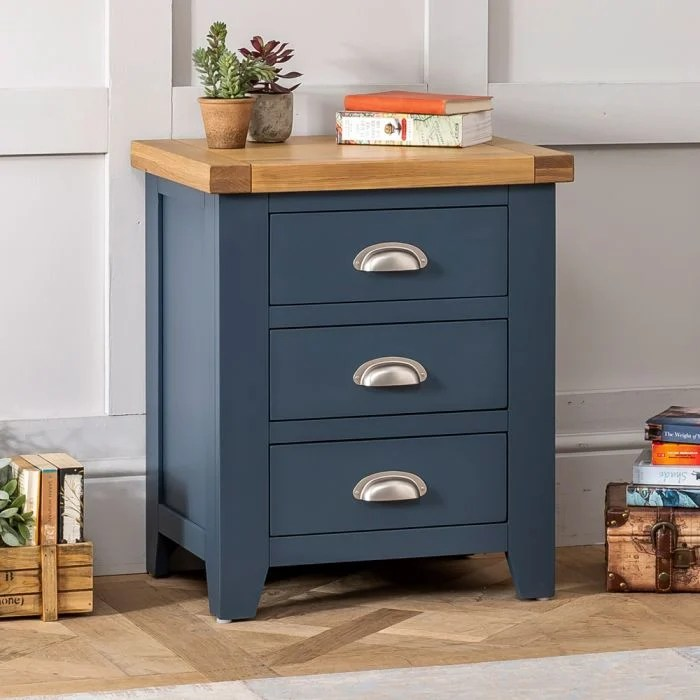 westbury blue painted 3 drawer bedside table