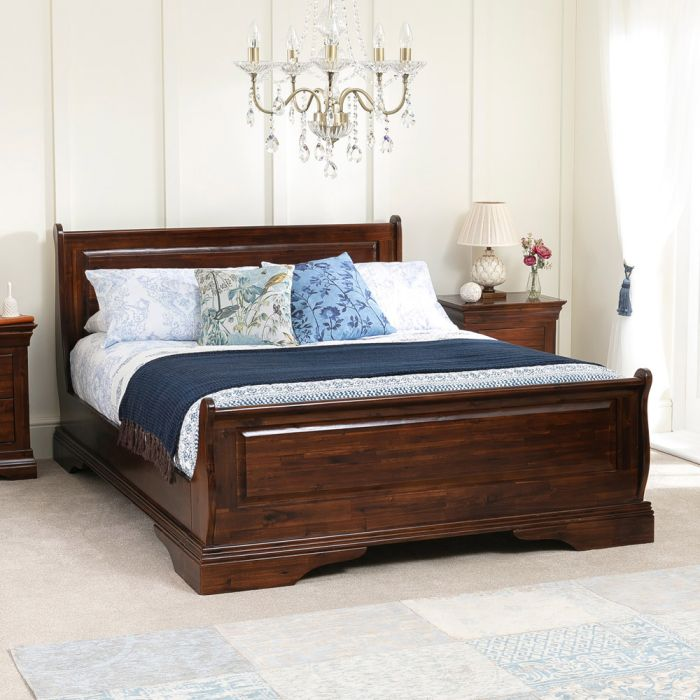 french solid hardwood 4ft 6in double mahogany stained sleigh bed