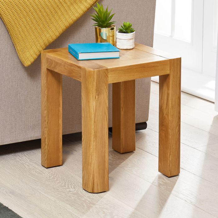 soho oak lamp side table