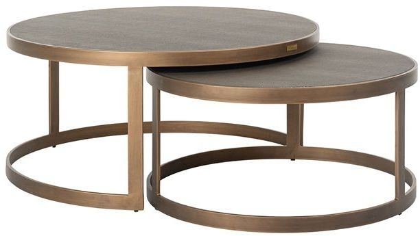 bloomingville shagreen faux leather top round coffee table set of 2
