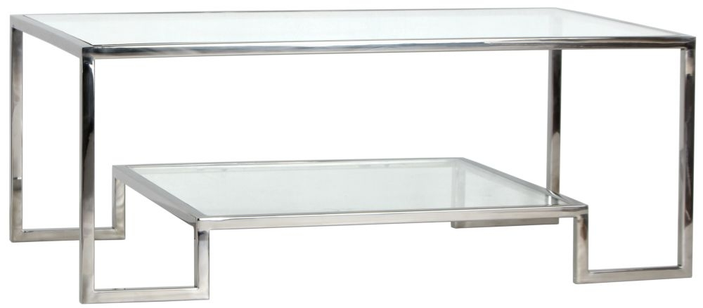 knightsbridge square stainless steel chrome and glass coffee table