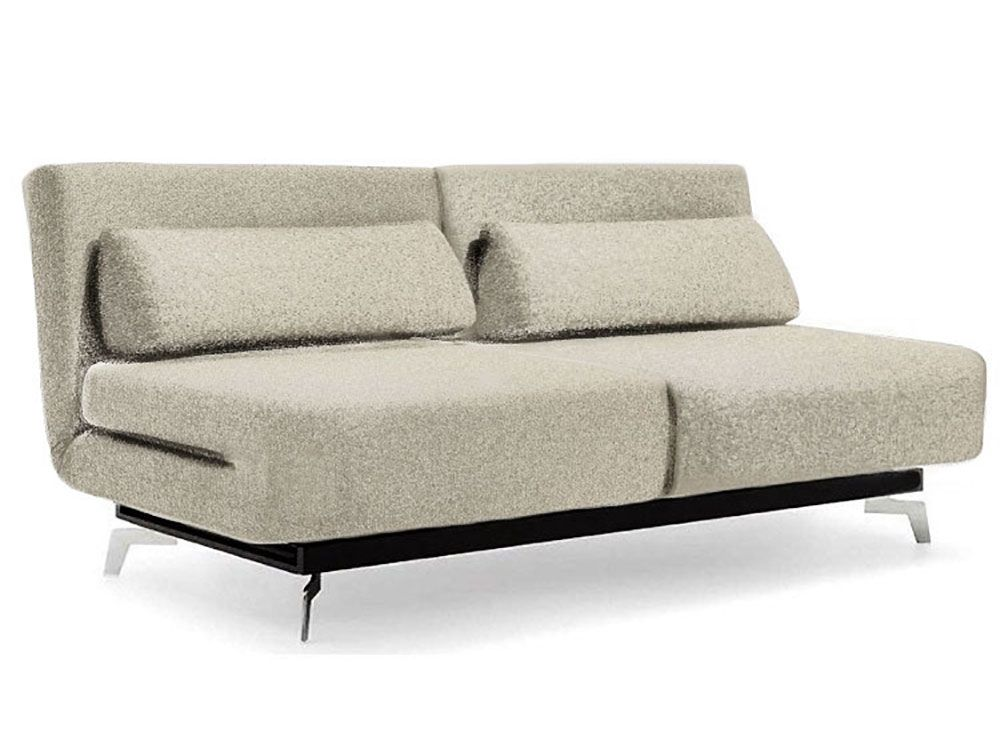 apollo silver tweed convertible sofa bed sleeper with 2 matching pillows