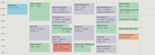 my Google calendar showing a very packed 9-5 schedule for my first days and week of school