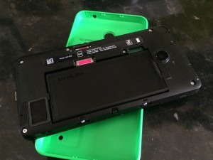 Lumia 630 with back cover removed