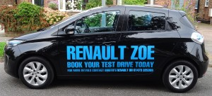 The Renault Zoe, Kindly provided by Peter at Bristos Ipswich