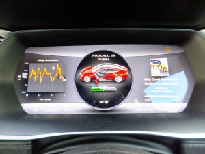 Tesla Model S Instrument Panel showing passenger door is open