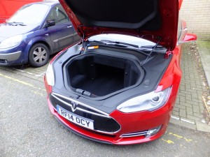 The Model S has a Front Trunk or 'Frunk', this give an enormous amount of storage space in addition to the boot or trunk