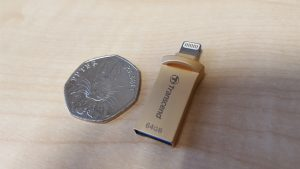 Transcend JetDrive Go 500G by a 50 pence piece