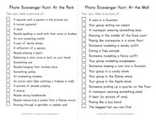 Photo scavenger hunt list