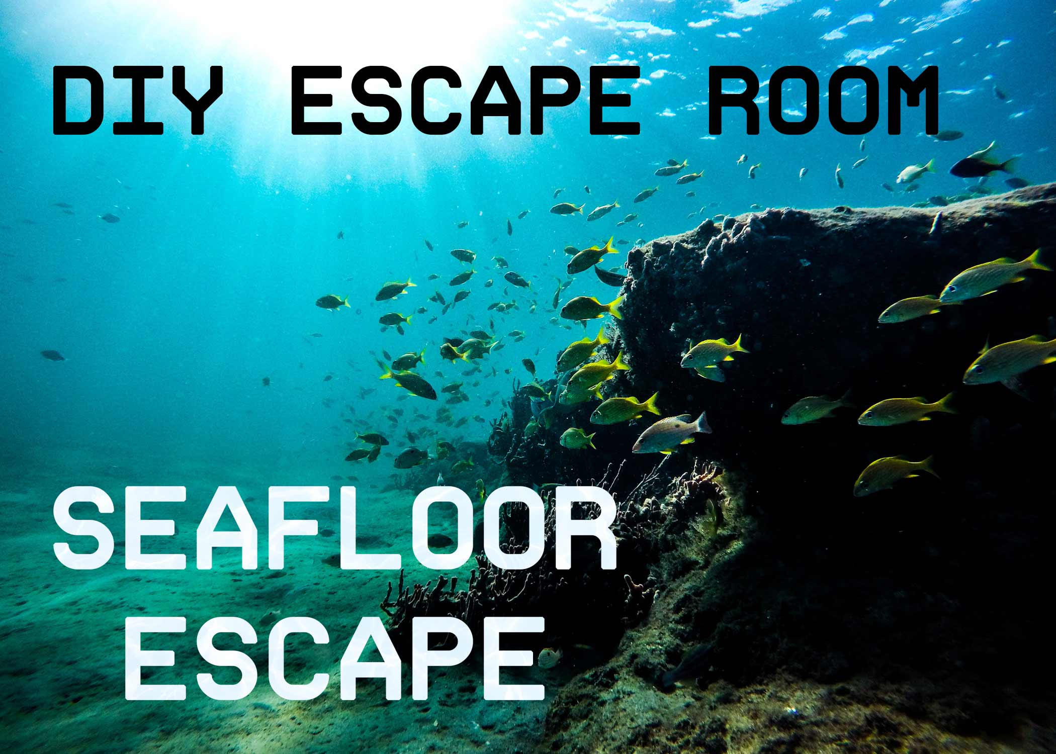 photograph relating to Free Printable Escape Room Kit identified as Do it yourself Escape House Package - Seafloor Escape - The Activity Gal