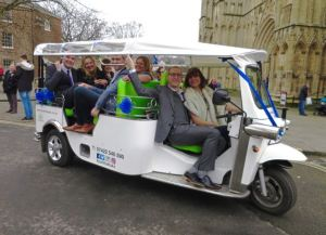 Outside York Minster in a tuk tuk!