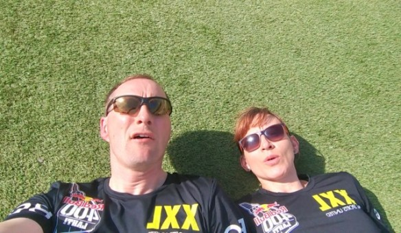 Resting after the Red Bull 400 ski jump run, Lahti, Finland