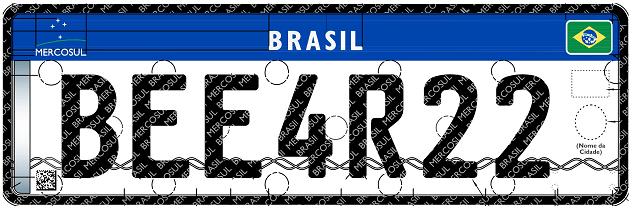 Placa de Carro Brasil Mercosul