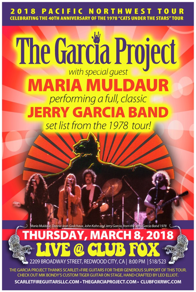 Maria Muldaur to join The Garcia Project in celebration of the 40th Anniversary of The 1978 Cats Under The Stars Tour!