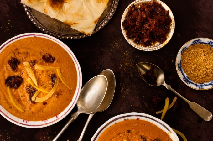 Red Lentil and Tomato Soup with Ras el Hanout, Harissa, and Preserved Lemons