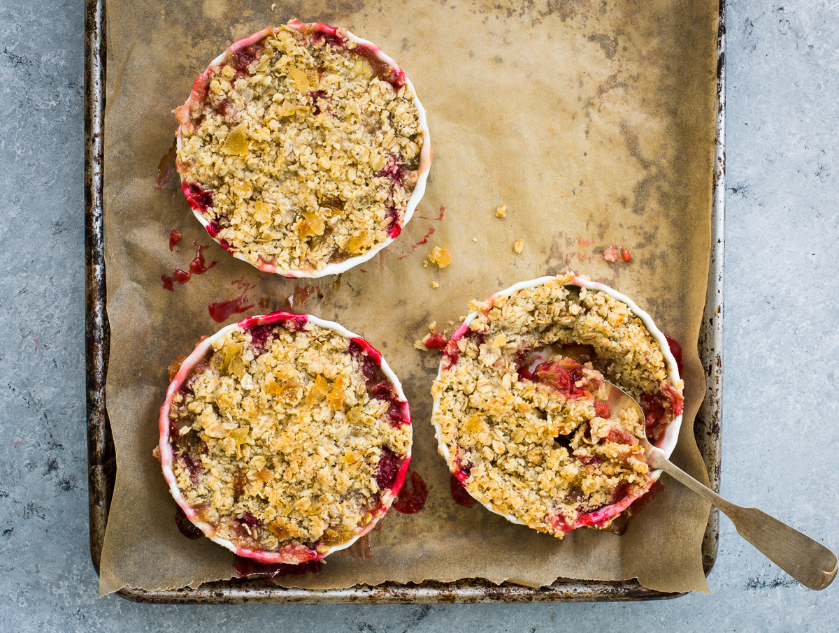 Rhubarb and Raspberry Crisp with Grand Marnier and Crystallized Ginger