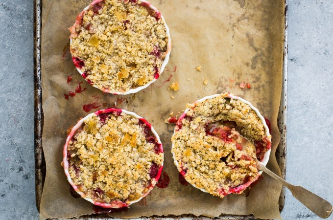 Rhubarb, Raspberry, and Grand Marnier Crisp