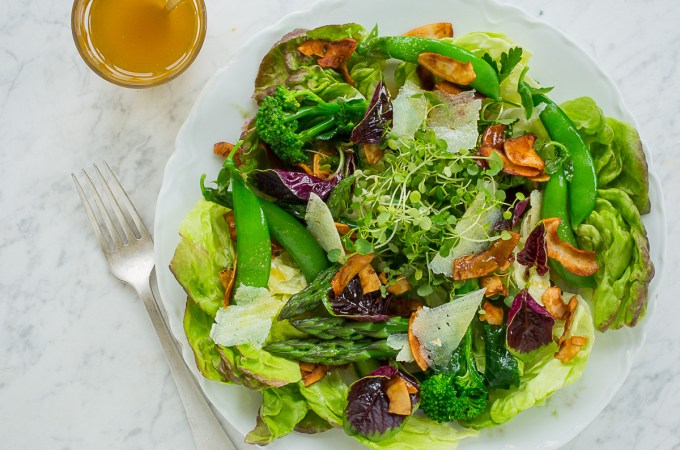 Spring Vegetable Salad with Dijon-Honey-Paprika Dressing and Coconut Bacon