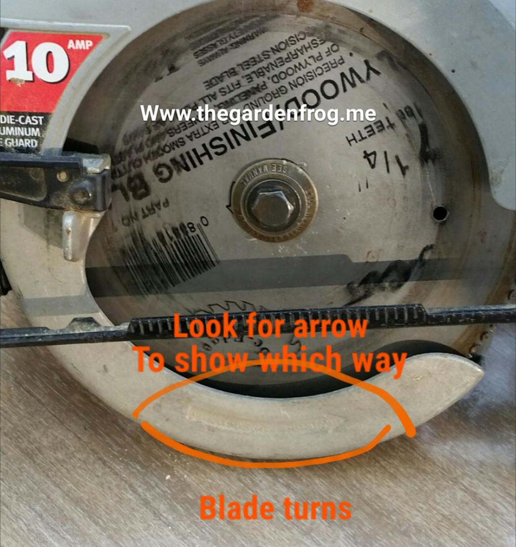 How to change a circular saw blade the garden frog boutique with that in mind i am going to show you how i as a woman change the blade on an older circular saw without a spindle or blade stop button greentooth Images