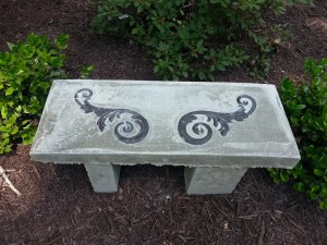 concrete bench, homemade concrete garden bench