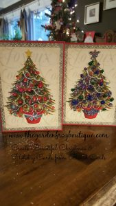 Create Beautiful Christmas & Holiday Cards from Boxed Cards with glitter and glue