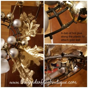 Create a Christmas Holiday Centerpiece with Gold Oak Leaves and Dollar Store Items