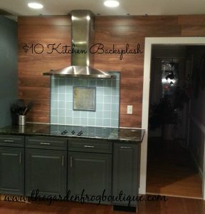 $10 Kitchen Backsplash with glass tiles and wood flooring
