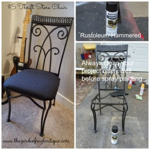 Metal Chair Makeover with Rustoleum Hammered Spray Paint