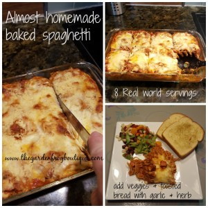 Almost homemade and budget friendly baked spaghetti