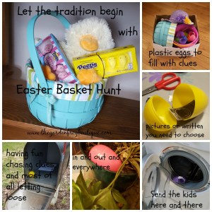 Start an Easter basket hunt tradition with plastic eggs and clues for your children