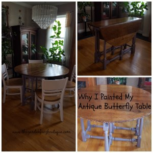 Why I painted my antique butterfly table, Heather Sachet by Behr